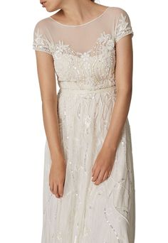 Buy Phase Eight Bridal Embellished Liliana Wedding Dress, White Snow, 6 from our Women's Dresses range at John Lewis & Partners. Wedding Dresses Under 500, White Wedding Dresses, Bridal Dresses, Wedding Gowns, Minimalist Wedding Dresses, Casual Wedding, Elegant Wedding, Phase Eight Bridal, Dresses Elegant