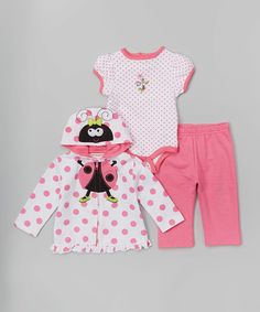 Buster Brown Pink & White 'Ladies First' Zip-Up Hoodie Set - Infant | zulily