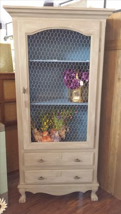 Attirant Old Gun Cabinet Repurposed Into A Display Armouru2026 Find This Pin And More On Chicken  Wire Furniture ...