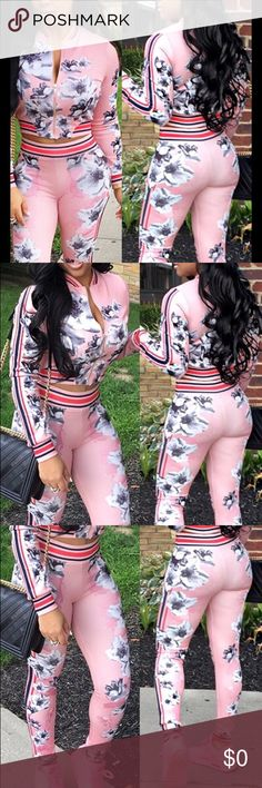 """🔥Printed pink two piece pant set🔥 Sexy🔥Euramerican zip up, round neck, long sleeves100% polyester pink floral design approx shoulder large shoulder 16"""" bust 32.28"""" waist 27.95"""" hip 38"""" top L 17.32"""" pants 36.22"""" , XL shoulder 16.14"""" bust 33.85"""" waist 29.13"""" hip 39.37"""" top L 17.71"""" pants 37"""" Other"""