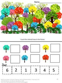 Trees: Everybody loves trees. Some provide shade; some provide food and some shelter for birds. Students can have fun cutting and pasting while practicing various skills. Seasons Worksheets, Literacy Worksheets, Math Literacy, Math Resources, Kindergarten Special Education, Kindergarten Math, Preschool, Alphabet Activities, Math Activities