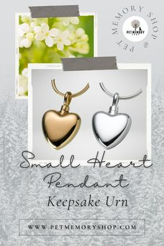 This Small Heart Pendant Keepsake Urn comes in two variants: Gold Vermeil and Sterling Silver. It has a polished finish and is fillable through a threaded screw top. It can be engraved on both sides with up to 8 characters maximum (engraving not included). Pet Memorial Jewelry, Keepsake Urns, Pet Loss, Small Heart, Pet Memorials, Pet Gifts, Place Card Holders, Memories, Pets