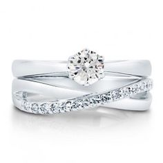 Cubic Zirconia CZ Sterling Silver 2-Pc Woven Bridal Ring Set 0.46 Ct $58.99