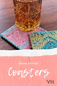 Learn how to make Chain Stitch Coasters, using yarn scraps and latch hook mesh. No previous crochet skills required!