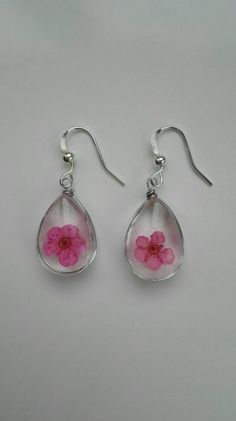 2cc2d1d8e Pink earrings glass silver Wedding gifts for bestfriend floral silver  pressed flower charm teardrop earrings girls plant mom gift for hippie