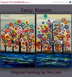 """Sale Huge Art abstract painting original Modern Impasto Texture Acrylic Painting on gallery wrap canvas by Tim Lam 48"""" x 36"""""""