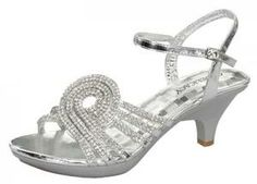 SHOEZY Womens Silver Strappy Diamante Wedding Prom Dress Low ...