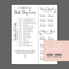 Custom Wedding Timeline  X  Digital File On Etsy