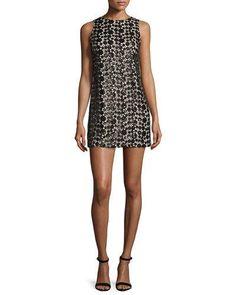 TD27J Alice + Olivia Clyde Sequined Lace Shift Dress, Black/Sesame