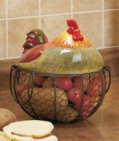 Amazon.com - Farm Friend Rooster Wire Kitchen Basket - Kitchen Storage And Organization Products