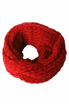 Winter Scarf - Knitted Winter Loose Round Scarf 2 (Red)