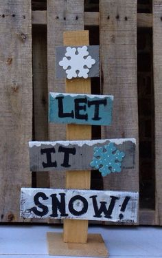 """Pallet wood rustic Christmas tree """"Let it Snow"""" on Etsy, $20.00"""
