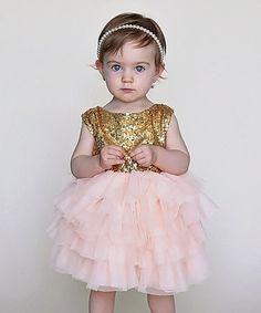 Look what I found on #zulily! Gold Big Bow Heart Cutout Dress - Infant & Kids #zulilyfinds