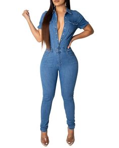 Light Blue Button Through Short Sleeve Skinny Denim Jumpsuit Denim Romper, Denim Jumpsuit, Jumpsuit Style, Bodycon Jumpsuit, Wide Leg Denim, Jumpsuits For Women, Daily Wear, Rompers, Skinny Jeans