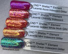 cnd shellac color element with lecente glitter by fee wallace - shellac nails Shellac Nail Colors, Shellac Nail Designs, Cnd Nails, Cnd Colours, Nail Colour, Glitter Gel Polish, New Nail Polish, Glitter Nails, Lecente Glitter