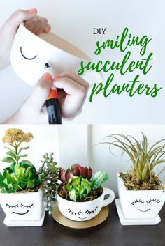 Your succulents will shine in these Smiling DIY Succulent Planters from @craftingchicks. So simple, yet so cute.