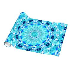 Aqua Lace Mandala, Delicate, Abstract Blue Wrapping Paper #mandala #dianeclancy