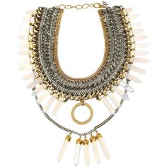 Assad Mounser Medicine Wheel gold and silver-plated spiked necklace ($400) ❤ liked on Polyvore