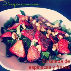 Cambiar sirope de ágave por stevia.  Algo original? Ensalada de espinacas y fresas! - 21 Inspiraciones