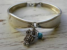 Spoon handle bracelet  owl charm  by WhisperingMetalworks on Etsy