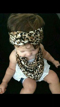 Cheetah Matching Baby Scarf Bib & Turban Headband by AvileeBabyCo OMG my daughter is going to have one. Baby Scarf, Baby Turban, Turban Headbands, Baby Headbands, Turbans, Bandanas, Baby Girl Fashion, Kids Fashion, Cute Kids