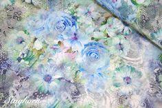 Staghorn: Spitze Vintage Rose elastisch blau grün Spitzenstoff
