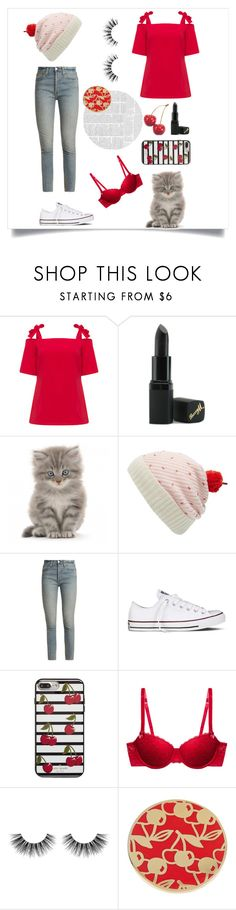 """""""Cherry"""" by elise-cherry ❤ liked on Polyvore featuring Manon Baptiste, Barry M, WALL, Kate Spade, RE/DONE, Converse, STELLA McCARTNEY, Velour Lashes and Ariella Collection"""
