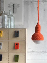Lampe, ceiling pendant lamp in orange Ceiling Pendant, Pendant Lamp, Felt Pillow, Ceiling Canopy, Decorative Bells, Bulb, Colours, Lights, Texture