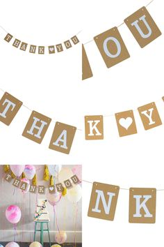 "[Visit to Buy] 1pcs""Thank You""Banner Kraft Paper Bunting Wedding Party Decoration Thanksgiving Flag Garland Party Birthday Baby Show Decoration #Advertisement"