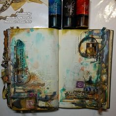 Marta Lapkowska: Mixed media journal pages by night + VIDEO tutorials art collage Mixed Media Journal, Mixed Media Canvas, Mixed Media Art, Mix Media, Artist Journal, Art Journal Pages, Art Journals, Creative Journal, Creative Art