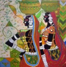Anuradha Thakur : Figurative Acrylic Painting on Canvas - 24 x 24 inch