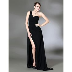 Column One Shoulder Sweep Train Chiffon Over Stretch Satin Evening Dress inspired by Jennifer Aniston at Golden Globe  – USD $ 149.99