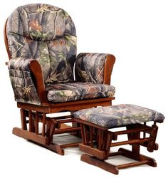 Cherry Wood Camo Cushion Glider and Ottoman - contemporary - rocking chairs - by Overstock.com