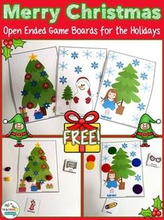 Open Ended Game Boards for Winter & Christmas by teachingtalking.com
