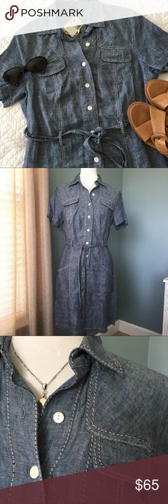 NWT Max Studio Linen Dress Adorable 100% linen shirt dress - super soft - cool/decorative seams - great pockets - tie belt - just needs sandals and you're ready to go😎 Max Studio Dresses