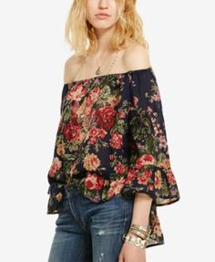 A moody floral print and ruffled trim define the boho vibe of this airy cotton Denim & Supply Ralph Lauren gauze top, while an elasticized neckline makes for sexy off-the-shoulder styling. | Cotton |