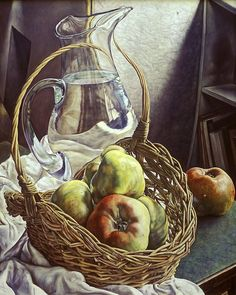 "Michael Taylor - ""Cesta de manzanas II / Basket of Apples II"", óleo sobre lienzo / oil on canvas, 102 x 71 cm., 2002"