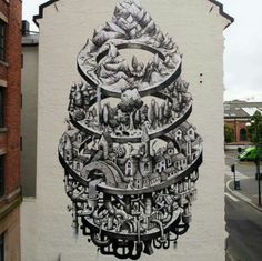 Street Art by Phlegm, located in Oslo, Norway