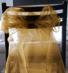 Organza Chair Sashes Gold|Pack of 10