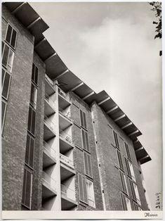Casa per impiegati Borsalino Alessandria, Ignazio Gardella, Contemporary Building, Contemporary Architecture, Interior Architecture, Bauhaus, Critical Regionalism, Mix Use Building, Social Housing, Art Deco, Brickwork