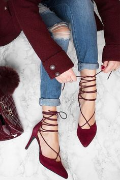 "As Seen On Sarah of @sarahstylesseattle! With a lower heel height and perfectly adjustable laces, the Seychelles Bauble Burgundy Suede Leather Lace-Up Heels are a dream to be seen in! Enjoy this striking design with its genuine suede, pointed-toe upper, and 3"" back zipper."