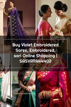 Buy Violet Embroidered Saree, Embroidered, sari Online Shopping | SASVRTA44402 Wedding Sarees, Online Shopping, Sari, Stuff To Buy, Fashion, Saree, Moda, Net Shopping, Fashion Styles
