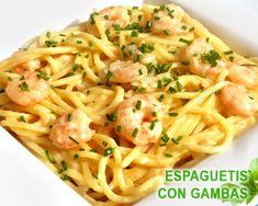 Espaguetis con puerro y gambas - thermomix