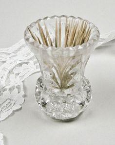 Toothpick Holder Vintage Cut Crystal