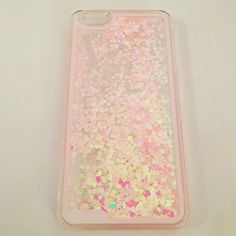 "Pink Heart Glitter iPhone 6 Plus Case Pink Heart iPhone 6 Plus Case. Fits iPhone 6 Plus (2014 and 2015) 5.5"". The case is clear plastic which protects the back and sides of the phone.  Check out more cases on Amazon, Facebook or www.allteli.com Allteli Accessories Phone Cases"