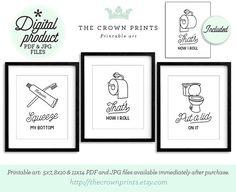 Funny bathroom art set of 3 - PRINTABLE bathroom wall decor,printable decor,bathroom printables,bathroom art,printable women gift,men gift