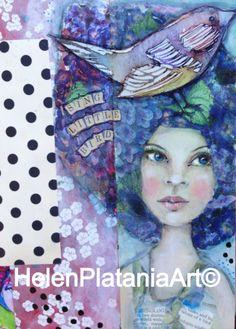 'Sing Little Bird' Mixed Media Art Prints avail , #journal pages #girl #blue #bird #words #whimsical #pretty #mixedmedia #art