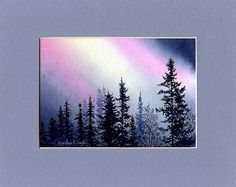 ORIGINAL WATERCOLOR PAINTING  Northern Lights by OriginalSandMore, $45.00