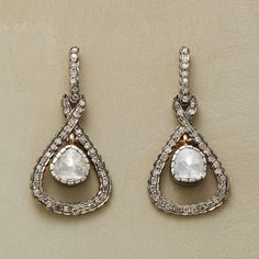 DIAMOND HALF-SHELL EARRINGS--In this pair of Sundance exclusive diamond and black rhodium earrings, polki diamonds are served up for a special occasion on half-shell diamond hoops. Black rhodium plated sterling silver