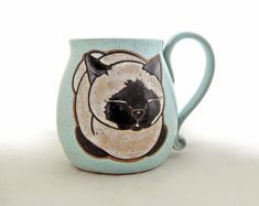 Siamese Cat Loaf Pottery Mug-Etsy Shop Cat Lover Gifts, Cat Gifts, Gifts In A Mug, Cat Coffee Mug, Cat Mug, Cat Nose, Hand Painted Mugs, Green Mugs, Great Father's Day Gifts